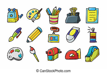 Stationery and drawing icons set,