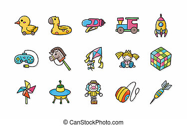 Children toys icons set