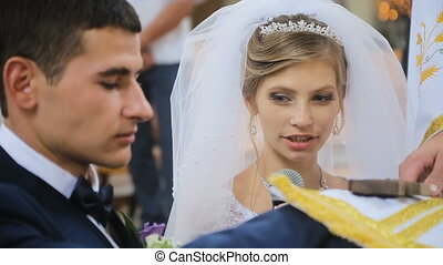 Bride taking wedding vows in church HD