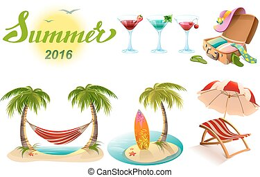 Set of objects symbol of summer - Summer 2016 lettering text...