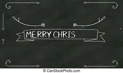Handwriting 'Merry Christmas' at chalkboard. with various...