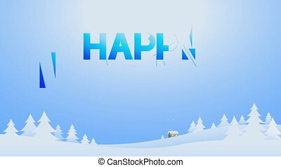 'Happy new year'' in winter village (included alpha)