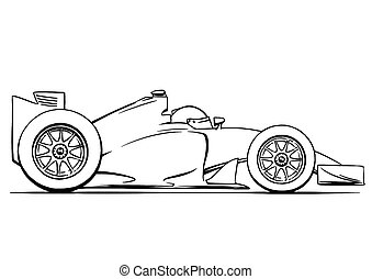 child's funny cartoon formula race car illustration art -...