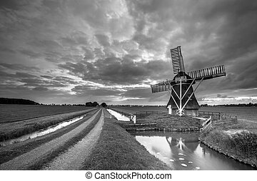 Rural Wooden windmill black white