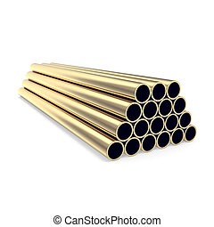 Gold pipes isolated on white background 3d illustration -...