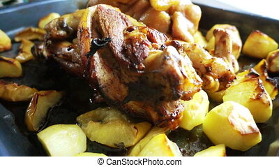 Roast pork knuckle - Roast pork leg on the grill. Popular...
