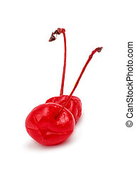 Maraschino cherries on white background
