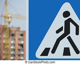 Pedestrian crossing - Sign Pedestrian crossing on background...