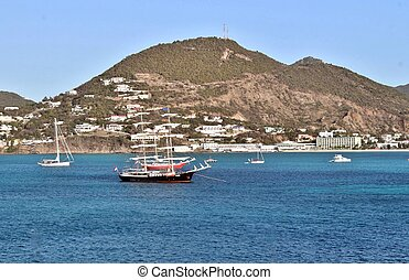 Coastal views of the island of St. Martin in the Caribbean