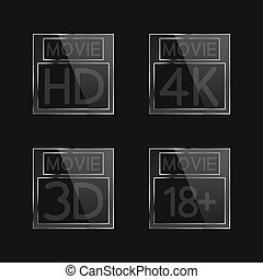High definition signs - High-definition video signs on black...