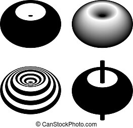 magnetic field toroid black symbol - illustration for the...