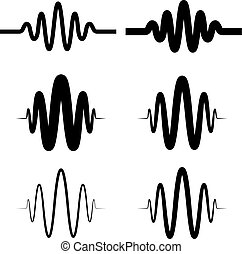 sinusoidal sound wave black symbol - illustration for the...