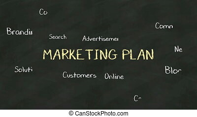 Handwriting concept of 'Marketing Plan' at chalkboard. with...