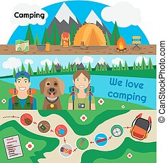Camping Banner People with Dog