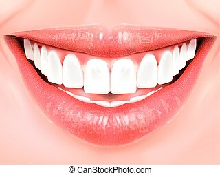 Pearl white teeth. Oral hygiene concept 3D illustration