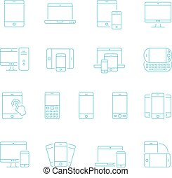 Thin lines icon set - devices - Thin lines icon set -...