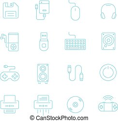 Thin lines icon set - devices