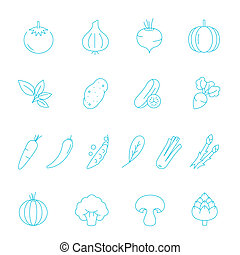 Thin lines icon set - vegetable