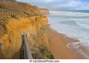 Wooden staircase beach access at Gibson Steps, Port Campbell...