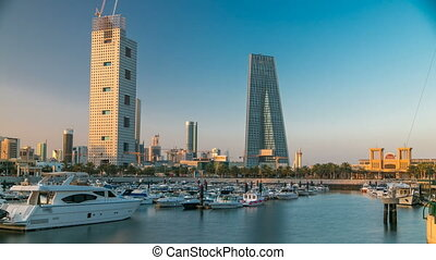 Yachts and boats at the Sharq Marina morning timelapse after...