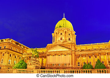 Budapest Royal Castle at night time. Hungary.