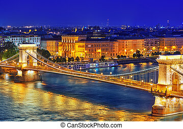 Szechenyi Chain Bridge view from Buda Hill at dusk Budapest,...