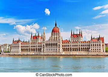 Hungarian Parliament at daytime Budapest View from Danube...
