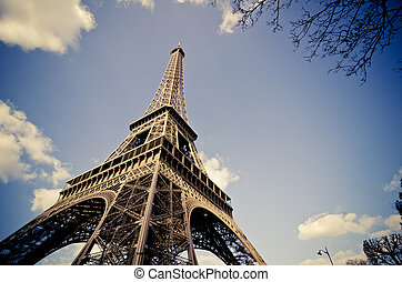 Paris, The Eiffel Tower in the sky