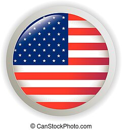 USA, shiny button flag vector illustration