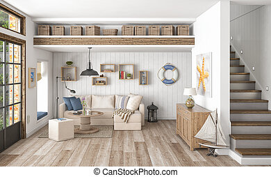 3d render - scandinavian flat - 3d render of scandinavian...