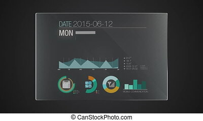 Information graphic technology panel 'Calendar' user...