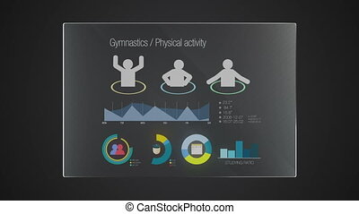 Information graphic technology panel 'Physical Education' user interface digital display application
