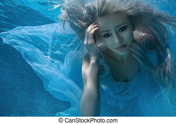 Fabulous blonde woman - Blonde woman under water, her long...