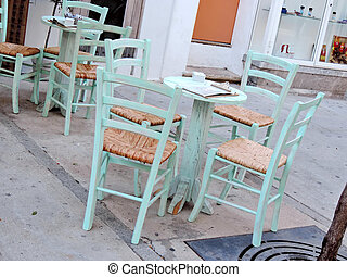 Caf? with turquoise furnishings