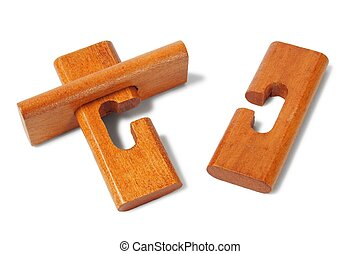 Wooden logic puzzle - Classic wooden puzzle on white...