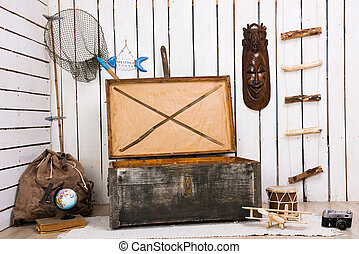 decorated room with big wooden chest - decorated room with...