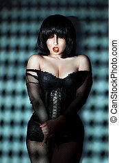 Vulgar woman with red lips. - Vulgar woman with her mouth...