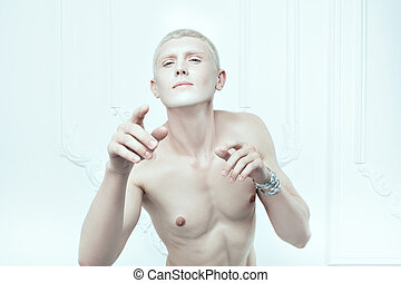 Male albino with white skin. - Portrait of a male albino...