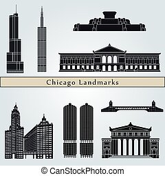 Chicago landmarks and monuments isolated on blue background...