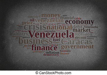 Blackboard with word cloud on Venezuela.