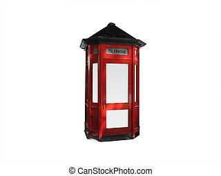 Red telephone box - Old red telephone box isolated on white...