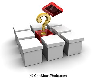 Think out of the box creative concept - Question mark out...