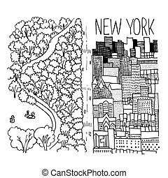 Hand drawn illustration of Central Park in NY