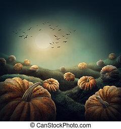 Dark landscape with orange pumpkins