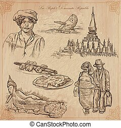 Laos Pictures of Life Vector pack - Travel collection LAOS...