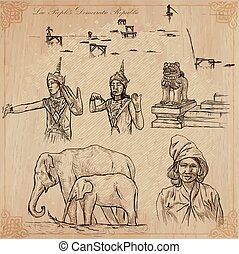 Laos. Pictures of Life. Vector pack. - Travel collection....