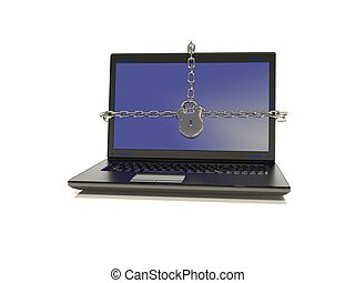 Laptop chains to lock the screen 3D illustration - laptop...