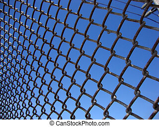 Texture the cage metal net at angle with powerlines.