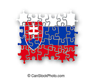 Slovakia flag jigsaw on white background, Patriotism symbol...
