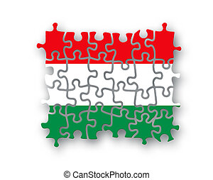 Hungary flag jigsaw on white background, Patriotism symbol...